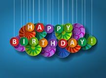 Buon compleanno Cartolina d'auguri o manifesto del taglio della carta Immagini Stock Libere da Diritti