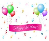 Buon compleanno con gli aerostati Fotografia Stock