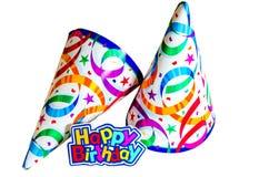 Buon compleanno con i cappelli immagini stock libere da diritti
