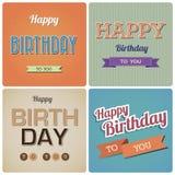 Buon compleanno d'annata Card.Illustration Fotografia Stock Libera da Diritti