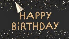 Buon compleanno del testo dorato sull'illustrazione grigio scuro del fondo 3D royalty illustrazione gratis