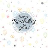 Buon compleanno dell'insegna su fondo senza cuciture dei palloni, cuori, fiori, spirali che disegnano vettore piano del fondo illustrazione vettoriale