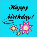 Buon compleanno dell'iscrizione e bei fiori Immagini Stock