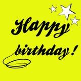 Buon compleanno dell'iscrizione e belle stelle Immagini Stock Libere da Diritti