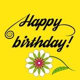 Buon compleanno dell'iscrizione e bello fiore Fotografie Stock