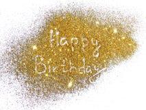 Buon compleanno dell'iscrizione sulla scintilla dorata di scintillio su fondo bianco Fotografia Stock Libera da Diritti