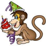 Buon compleanno della scimmia Fotografia Stock Libera da Diritti