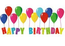 Buon compleanno delle lettere variopinte sui palloni Cartolina d'auguri illustrazione vettoriale