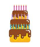 Buon compleanno Dessert con le candele Dolci con crema Fotografie Stock