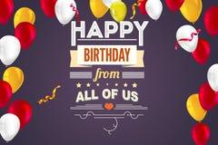 Buon compleanno di saluti alla moda, carta creativa con i palloni gonfiabili e fiamme illustrazione vettoriale
