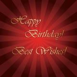 Buon compleanno ed auguri - cartolina d'auguri rossa luminosa di vettore Fotografie Stock