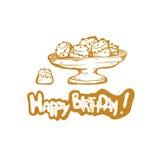 Buon compleanno Illustrazione dorata di schizzo di vettore della tazza del dolce del regalo Fotografia Stock Libera da Diritti