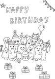 Buon compleanno, mostri di scarabocchio Fotografie Stock Libere da Diritti