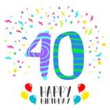 Buon compleanno per la carta dell'invito del partito da 40 anni Immagini Stock