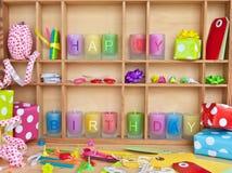 Buon compleanno scritto sulle candele Fotografia Stock