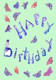 Buon compleanno sul fondo delle farfalle royalty illustrazione gratis