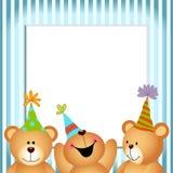 Buon compleanno Teddy Bears della struttura blu Fotografie Stock