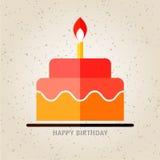 Buon compleanno, torta di compleanno con il fondo piano dell'icona della candela Immagine Stock Libera da Diritti