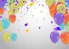 Buon compleanno variopinto Annuncio con il pallone, coriandoli e royalty illustrazione gratis