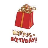 Buon compleanno vector il contenitore di regalo di immagine con il nastro e pieghi su un fondo bianco Fotografia Stock
