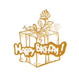 Buon compleanno Vector l'illustrazione dorata di schizzo del contenitore di regalo con il nastro e stato aumentato Fotografie Stock
