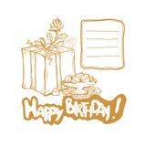 Buon compleanno Vector l'illustrazione dorata di schizzo del contenitore di regalo, il bocciolo di rosa, vaso con i dolci Posto a Immagine Stock