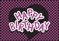 Buon compleanno viola e nero Fotografia Stock Libera da Diritti