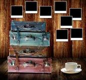 Buon concetto di memorie, bagagli d'annata di viaggio Fotografia Stock