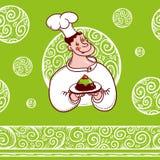 Buon cuoco unico con un dolce sul piatto e sul bello modello Immagini Stock