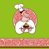 Buon cuoco unico con un dolce sul piatto e sul bello modello Fotografia Stock