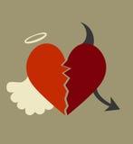 Buon e cattivo cuore Fotografia Stock Libera da Diritti