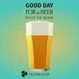 Buon giorno per una birra - luce di Pilsner Fotografie Stock Libere da Diritti