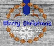 Buon Natale blu su fondo di legno con il fiocco di neve Immagine Stock Libera da Diritti