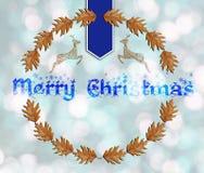 Buon Natale blu sul fondo del bokeh Fotografia Stock
