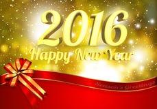 Buon Natale & buon anno 2016 con il nastro rosso Fotografia Stock Libera da Diritti