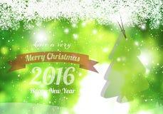 Buon Natale & buon anno 2016 con il pino Immagine Stock Libera da Diritti
