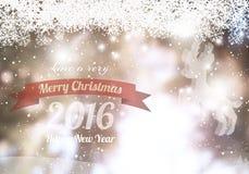 Buon Natale & buon anno 2016 con la renna Fotografie Stock Libere da Diritti