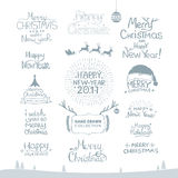 Buon Natale Buon anno, 2017 Insieme di tipografia Logo di vettore, emblemi, progettazione del testo Utilizzabile per le insegne,  Fotografia Stock
