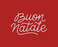 Buon Natale calligraphic line art typography. Buon Natale italian Merry Christmas calligraphic line art style lettering quote on red background. Gift card design Stock Photo