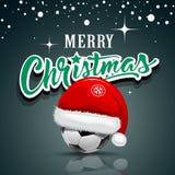 Buon Natale, cappello di Santa su progettazione del pallone da calcio illustrazione vettoriale