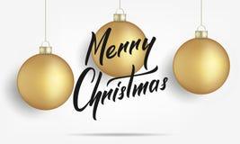 Buon Natale Carta con le palle realistiche di Natale dell'oro Buon Natale che segna insegna con lettere per progettare Fotografie Stock