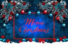 Buon Natale Cartolina d'auguri con le decorazioni sull'albero di Natale e sulla neve Disegno d'angolo Illustrazione illustrazione vettoriale