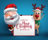Buon Natale che accoglie modello con i caratteri di vettore della renna e del Babbo Natale royalty illustrazione gratis