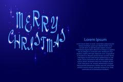Buon Natale che segna, calligrafia di festa con luminescenza illustrazione di stock