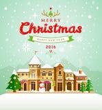 Buon Natale che segna con il fondo della neve delle case illustrazione vettoriale