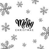 Buon Natale che segnano e scarabocchio disegnato a mano dei fiocchi di neve Fotografie Stock