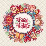 Buon Natale. Christmas template. Greeting card. Winter holiday in Italy. Congratulation on Italian. Vintage style Royalty Free Stock Images