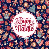 Buon Natale. Christmas template. Greeting card. Winter holiday in Italy. Congratulation on Italian. Vintage style Royalty Free Stock Photo