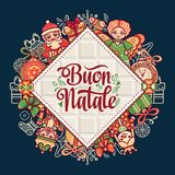 Buon Natale. Christmas template. Greeting card. Winter holiday in Italy. Congratulation on Italian. Vintage style Royalty Free Stock Photos
