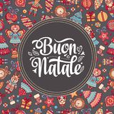 Buon Natale. Christmas template. Greeting card. Winter holiday in Italy. Congratulation on Italian. Vintage style Stock Photos